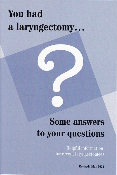 You had a laryngectomy... Answers to your questions